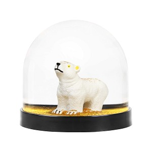 Gold Polar Bear Christmas Snow globe