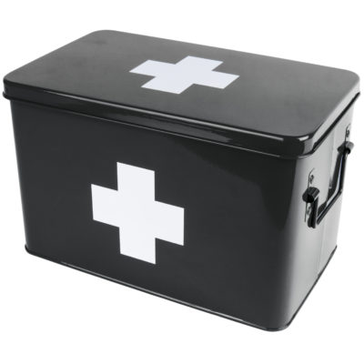Retro Medicine Storage Box in Black