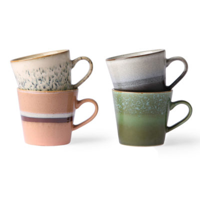 70's Ceramics Mugs - Organic Tones Set of 4