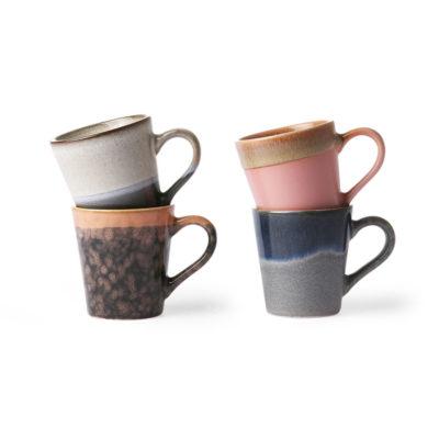 70's Ceramics Espresso Cups - Organic Tones Set of 4