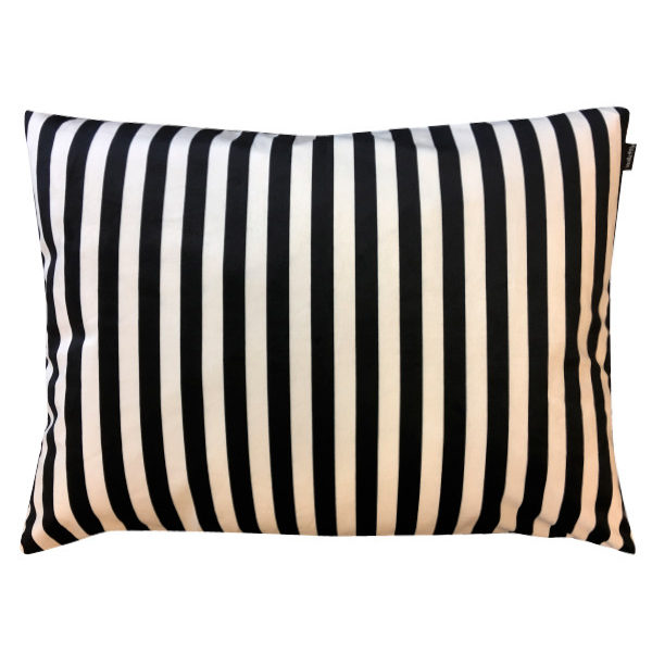 Black and White Striped Velvet Cushion Cut Out