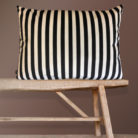 Black and White Striped Velvet Cushion