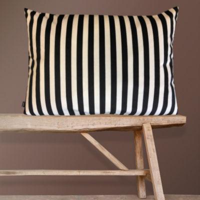 Black and White Striped Velvet Cushion