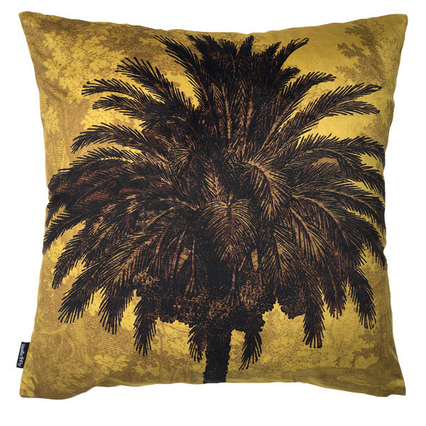 Velvet Palm Tree Cushion in Mustard Cut out