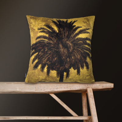 Velvet Palm Tree Cushion in Mustard