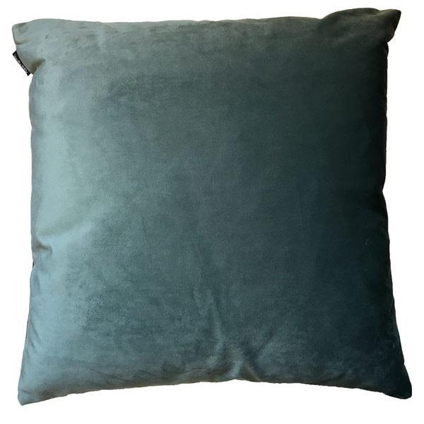 Velvet Palm Tree Cushion in Blue - Back