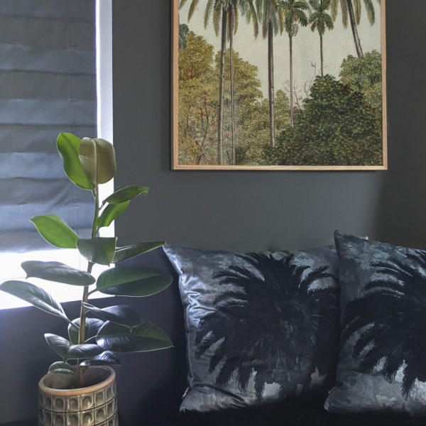 Velvet Palm Tree Cushion in Blue - Lifestyle