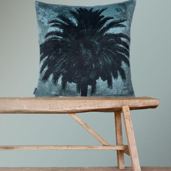 Velvet Palm Tree Cushion in Blue