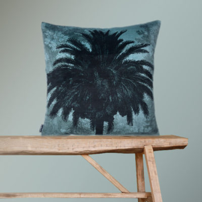 Velvet Palm Tree Cushion in Blue