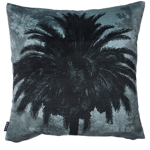Velvet Palm Tree Cushion in Blue - Cut out