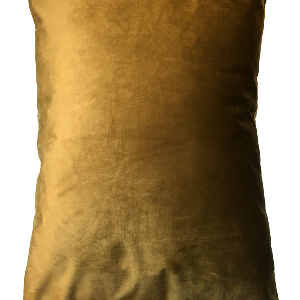 Velvet Palm Trees Bolster Cushion in Mustard - Back