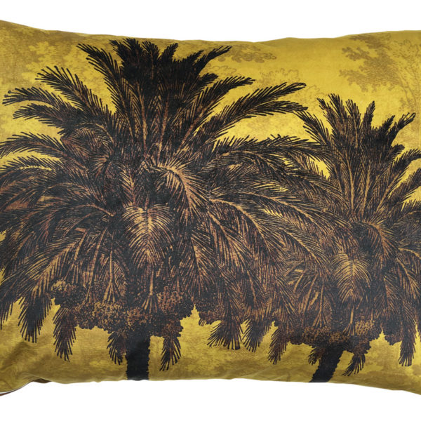 Velvet Palm Trees Bolster Cushion in Mustard Cut Out