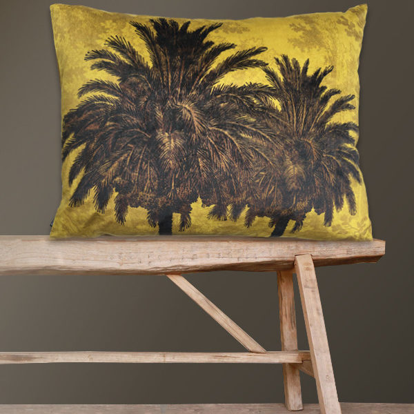 Velvet Palm Trees Bolster Cushion in Mustard