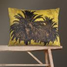 Velvet Palm Trees Bolster Cushion in Mustard