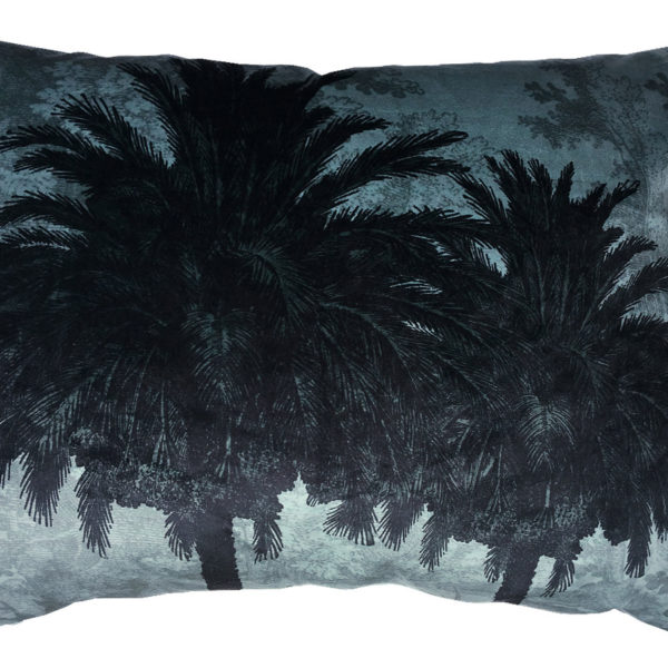 Velvet Palm Trees Bolster Cushion in Blue - Cut out