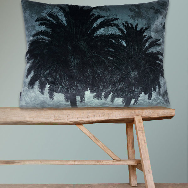 Velvet Palm Trees Bolster Cushion in Blue
