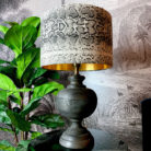Small Rustic Wooden Table Lamp in Black