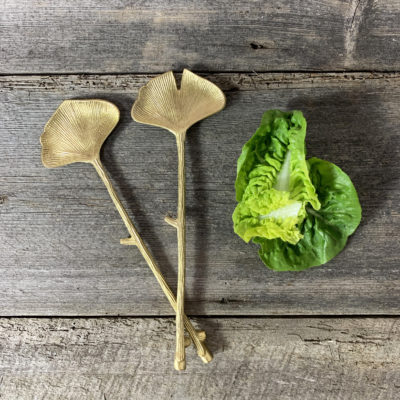 Brass Ginkgo Leaf Salad Servers