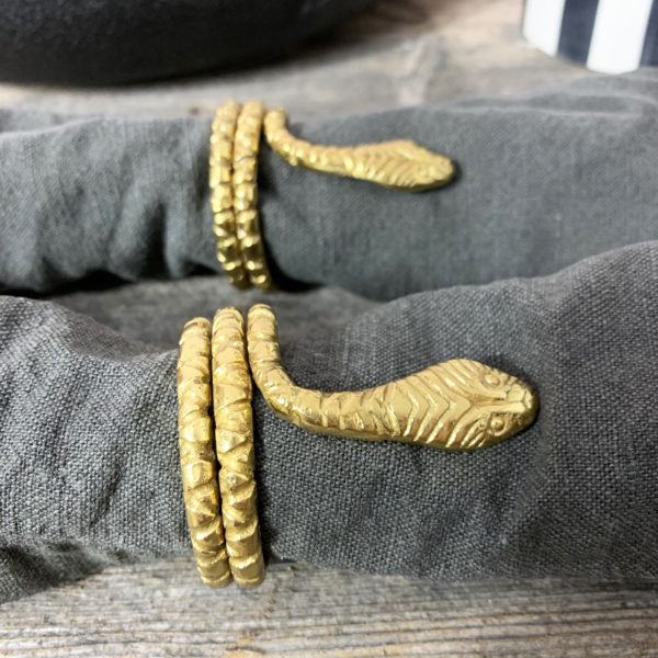 Pair of Serpent Snake Napkin Rings Close up