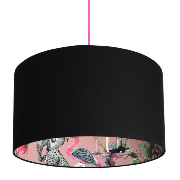 Pink ChiMiracle Wallpaper Silhouette Lampshade in Jet Black Cotton