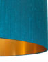 Love Frankie handmade Lampshade in Teal with brushed gold lining Close up