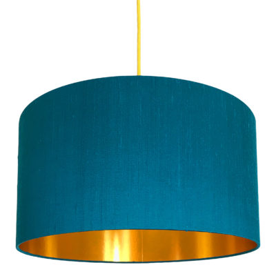 Teal Indian Silk Handmade Lampshade With Gold Lining