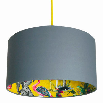 Mustard ChiMiracle Wallpaper Silhouette Lampshade in Slate Grey Cotton