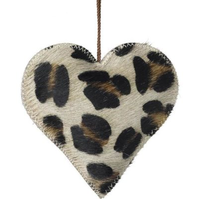 Animal Print Christmas Heart Decorations - Leopard Print Decoration