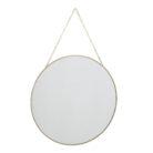 Gold Framed Round Mirror on Gold Chain