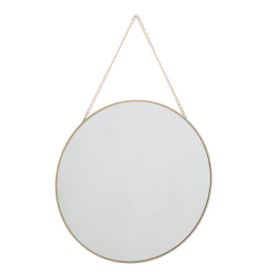 Gold Framed Round Mirror on Gold Chain