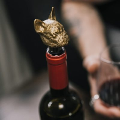 Matte Gold Frenchie Bottle Stopper