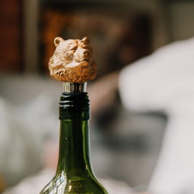 Matte Gold Grizzly Bear Bottle Stopper