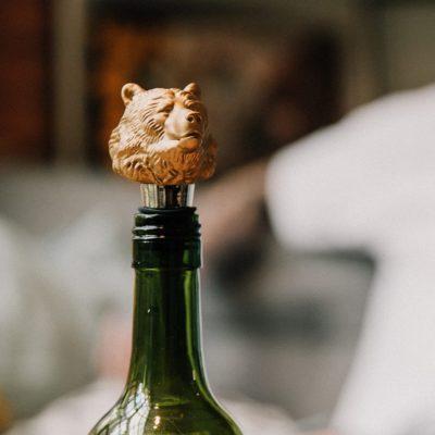 Matte Gold Grizzly Bear Bottle Stopper