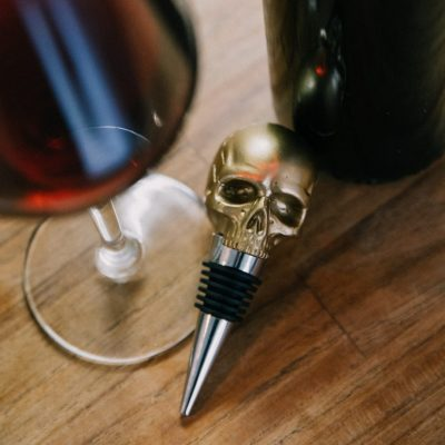 Skull Bottle Stopper Gold