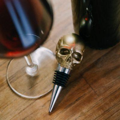 Skull Bottle Stopper Gold