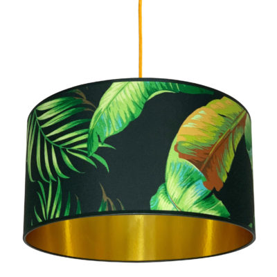 Tropical Midnight Palms Handmade Lampshade with Gold Lining