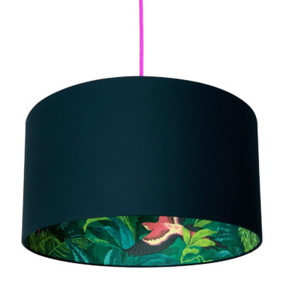 Bird Of Paradise Silhouette Lampshade in Deep Space Navy