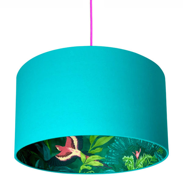 Bird Of Paradise Silhouette Lampshade in Jade Green