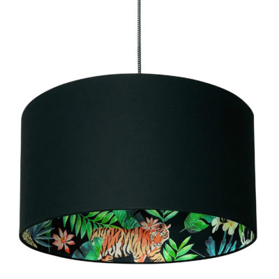 Moonlight Jungle Silhouette Lampshade in Jet Black