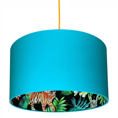 Moonlight Jungle Silhouette Lampshade in Sky Blue