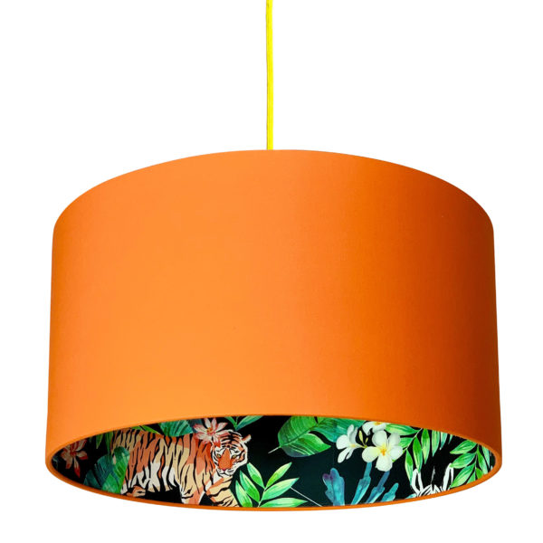 Moonlight Jungle Silhouette Lampshade in Tangerine Orange