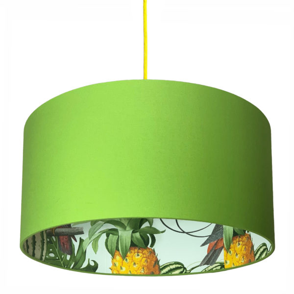 Pineapple Jungle Silhouette Lampshade in Chartreuse Green