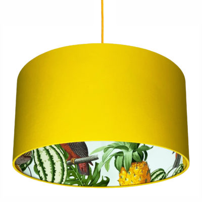 Pineapple Jungle Silhouette Lampshade in Egg Yolk Yellow