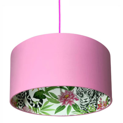 Snow Leopard Silhouette Lampshade in Bubblegum Pink