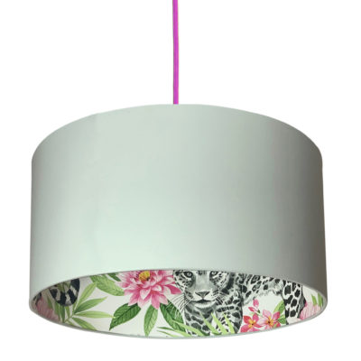 Snow Leopard Silhouette Lampshade in Cloud Grey
