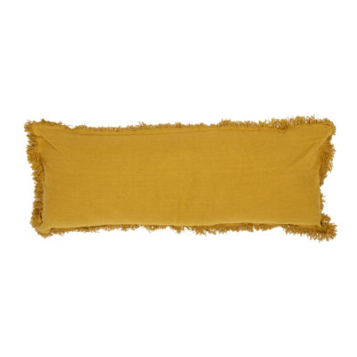 Oversized Mustard Yellow Bolster Cushion With Fringing