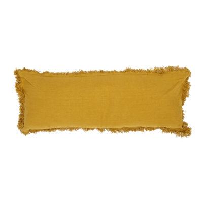 Oversized Mustard Yellow Bolster Cushion With Fringing