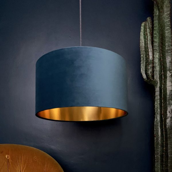 Flint Velvet Lampshade With Gold Lining