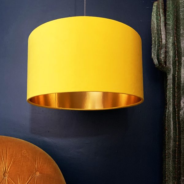 Sunset Yellow Velvet Lampshade With Gold Lining