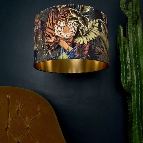 Big Cat Velvet Lampshade With Gold Lining In Rust